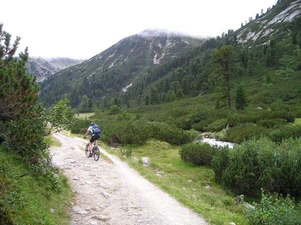 uphill bike riding with mountain bike