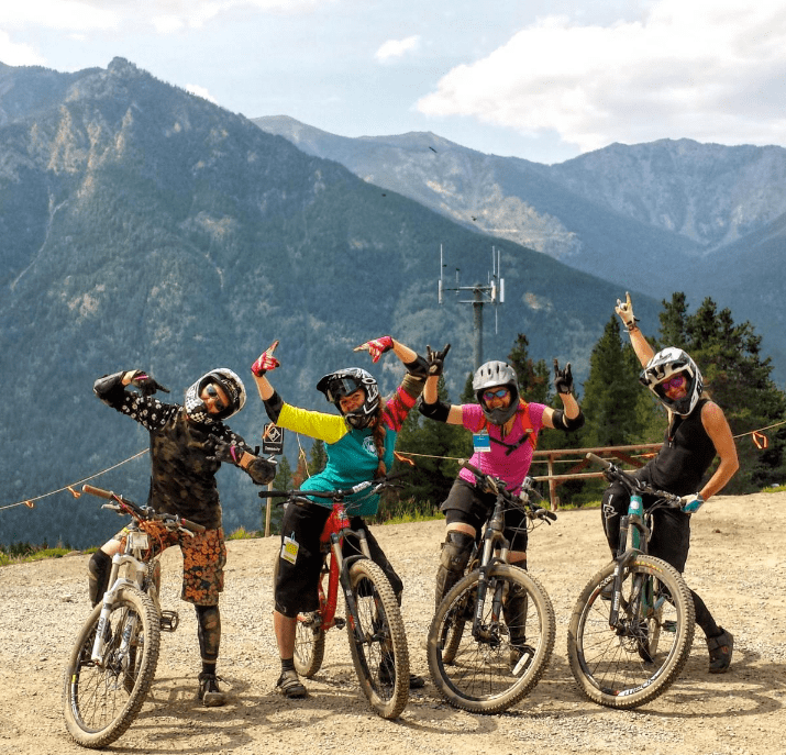 women mountain biking