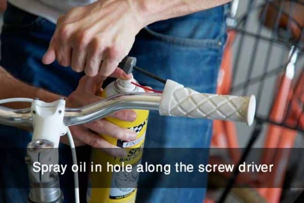 Spray oil in hole along the screw driver